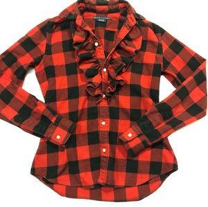 Ralph Lauren plaid shirt with ruffles size for